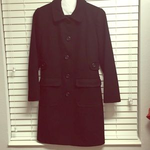 Wool Black Trench Coat Four Button